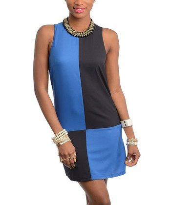 Blue & Navy Blue Color Block Dress
