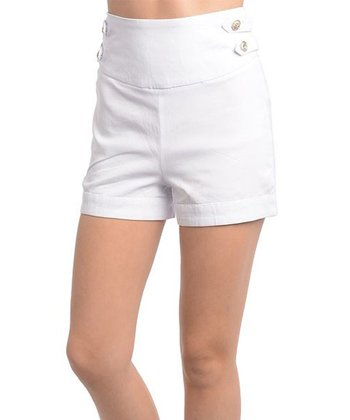 White High-Waisted Shorts