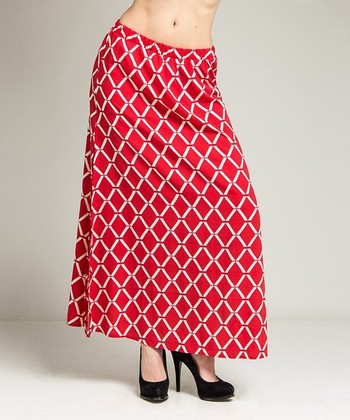 Red Diamond Maxi Skirt