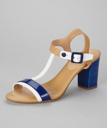 White & Cobalt Feather Sandal