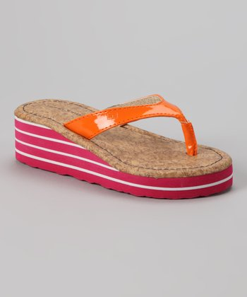 Orange & Pink Joy Wedge Sandal