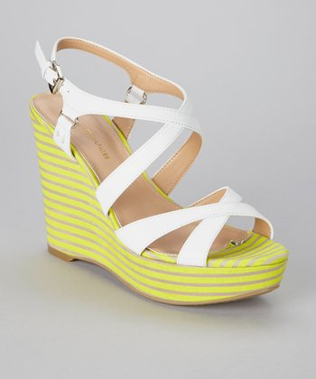 White & Fluorescent Yellow Stripe Justina Wedge Sandal