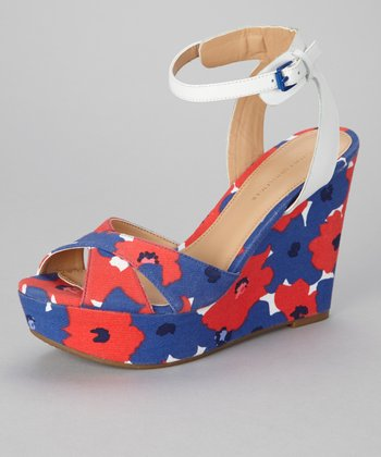 White & Blue Floral Veruca Wedge Sandal