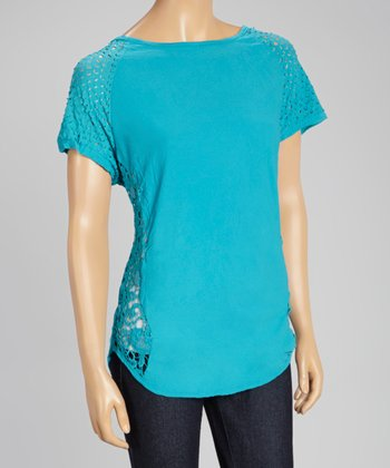 Turquoise Perforated Cap-Sleeve Top