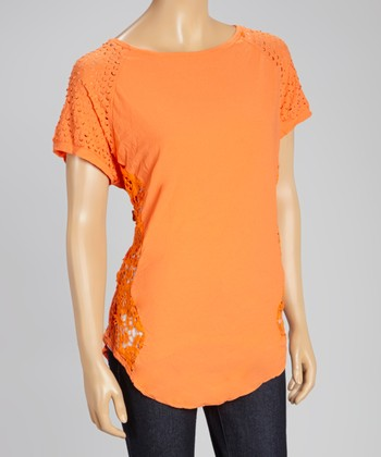 Orange Perforated Cap-Sleeve Top