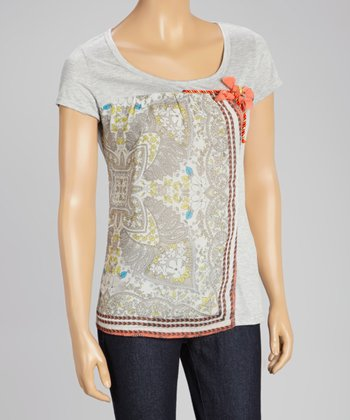 Gray Paisley Panel Cap-Sleeve Top