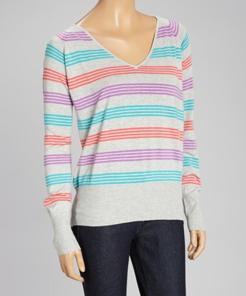 Turquoise & Lilac Stripe V-Neck Sweater