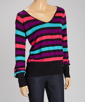 Pink Stripe V-Neck Sweater