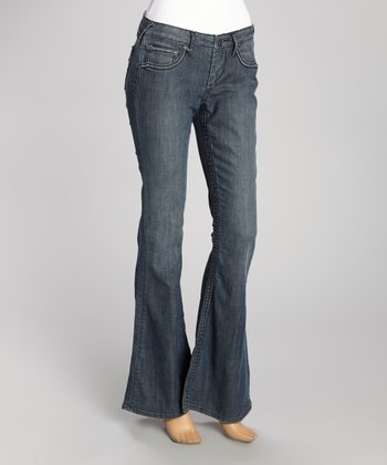 Blue Stone Wash Wide-Stitch Hav Flare Jeans