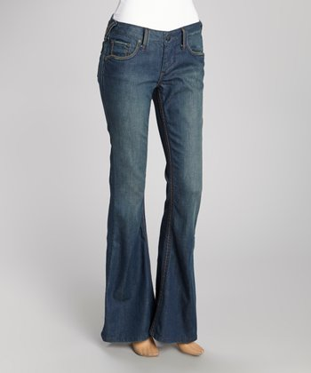 Blue Wide-Stitch Hav Flare Jeans