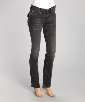 Black Stone Wash Flap-Back May Bootcut Jeans