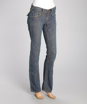 Blue Crinkled Flap-Back May Bootcut Jeans
