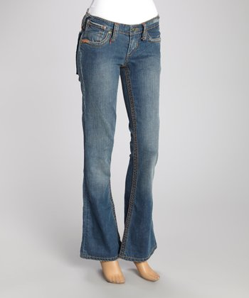 Blue Wide-Stitch Sio Bootcut Jeans