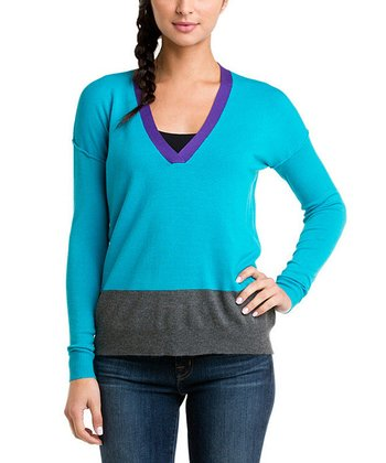 Teal Color Block V-Neck Sweater