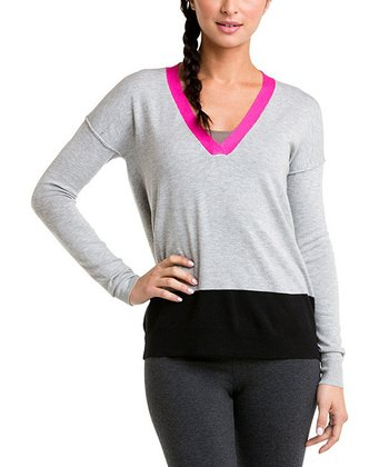 Gray Color Block V-Neck Sweater