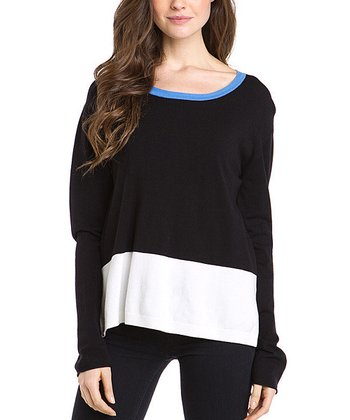 Black Color Block Long-Sleeve Sweater