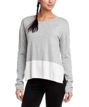 Gray Color Block Long-Sleeve Sweater