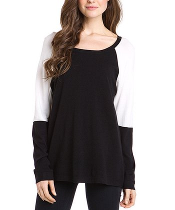 Black Contrast Tunic Sweater