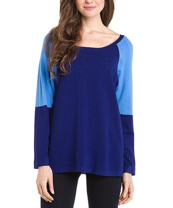 Navy Contrast Tunic Sweater