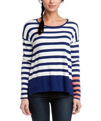 Navy Color Block Stripe Sweater