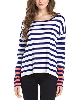Navy & Coral Color Block Stripe Sweater