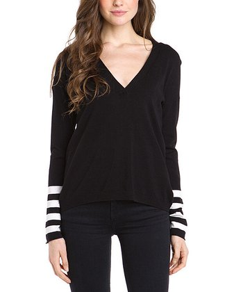 Black Stripe Sleeve V-Neck Sweater