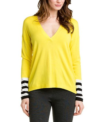 Yellow Stripe Sleeve V-Neck Sweater