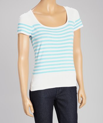 White & Ice Blue Stripe Scoop Neck Sweater