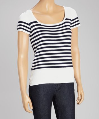 White & Navy Stripe Scoop Neck Sweater