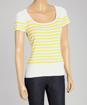 White & Yellow Stripe Scoop Neck Sweater