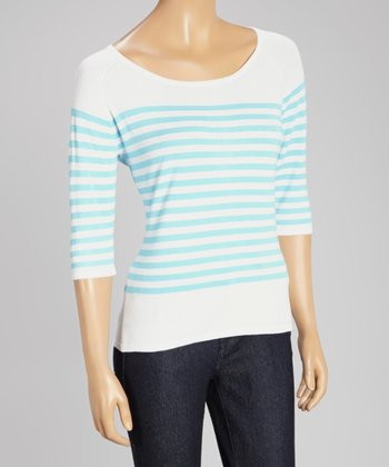White & Ice Blue Stripe Three-Quarter Sleeve Sweater