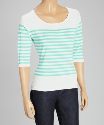 White & Mint Stripe Three-Quarter Sleeve Sweater