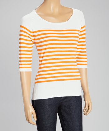 White & Orange Stripe Three-Quarter Sleeve Sweater