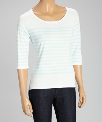 White & Powder Blue Stripe Three-Quarter Sleeve Sweater