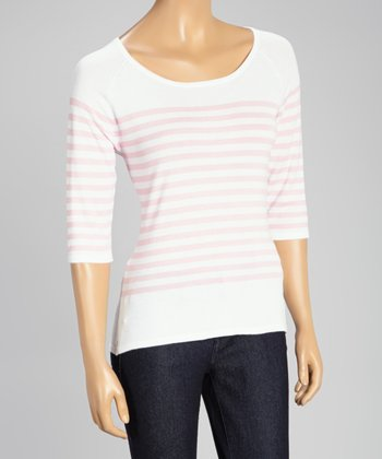 White & Pink Stripe Three-Quarter Sleeve Sweater