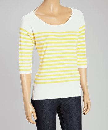 White & Yellow Stripe Three-Quarter Sleeve Sweater
