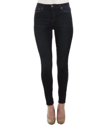 Dark Blue Five-Pocket High-Waist Skinny Jeans