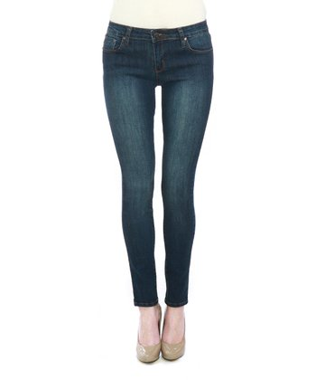 Blue Stone Wash Five-Pocket Skinny Jeans
