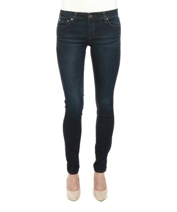 Dark Blue Whisker Five-Pocket Skinny Jeans