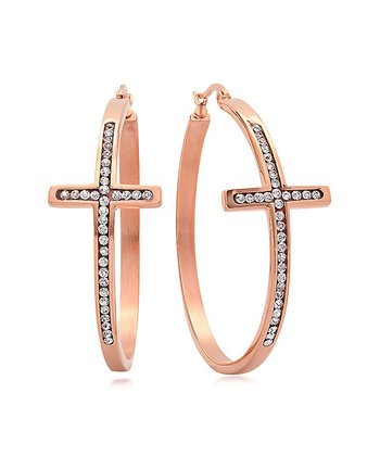 Rose Gold & Simulated Diamond Cross Hoop Earrings