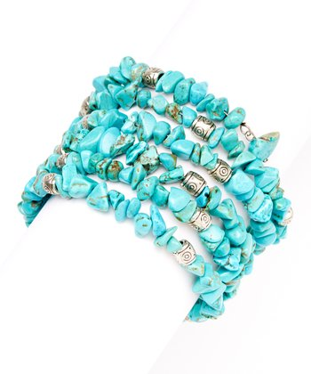 Turquoise & Silver Bead Stretch Bracelet
