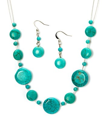 Turquoise Crackled Necklace & Drop Earrings