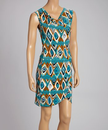 Teal & Rust Abstract Tulip Dress
