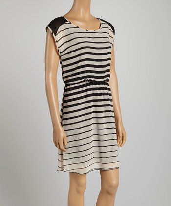 Tacera White & Black Stripe A-Line Dress