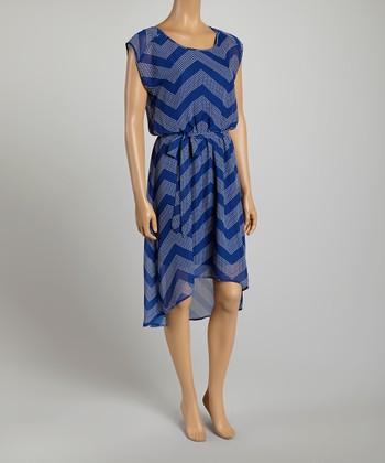 Tacera Navy Zigzag Tie-Waist A-Line Dress