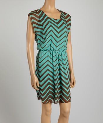 Tacera Aqua & Brown Zigzag A-Line Dress