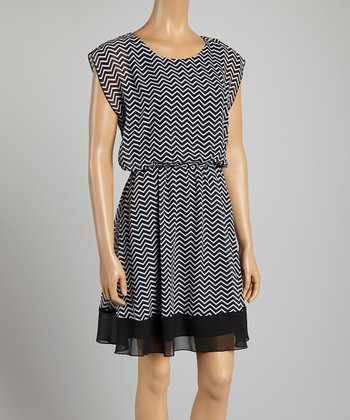 Tacera Black Zigzag A-Line Dress