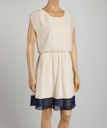 Tacera Ecru & Navy Color Block A-Line Dress