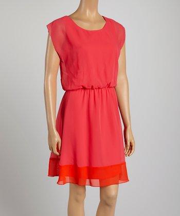 Tacera Pink & Red Color Block A-Line Dress