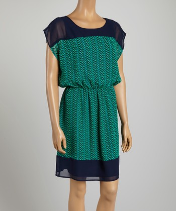 Tacera Navy Zigzag A-Line Dress